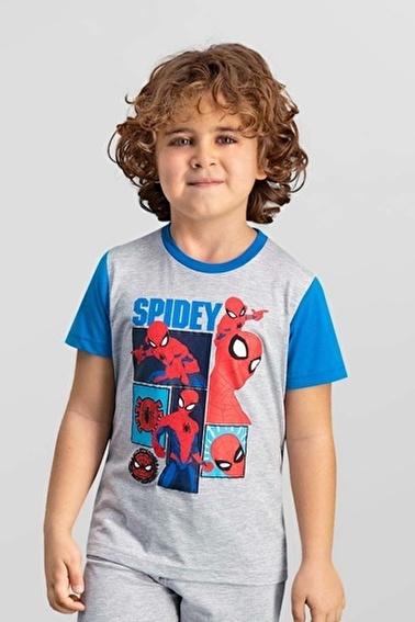 Spider-Man Spider Man Lisanslı Siyah Erkek Çocuk T-Shirt Gri